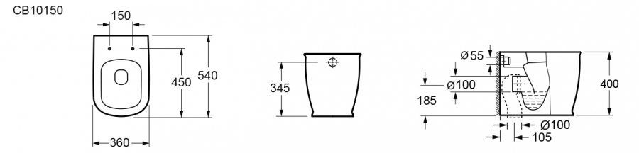 Bản vẽ kỹ thuật bồn cầu treo tường Elimen - Mã CB10150-305