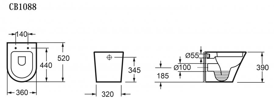 Bản vẽ kỹ thuật Bồn cầu treo tường Elimen - Mã CB1088L-305