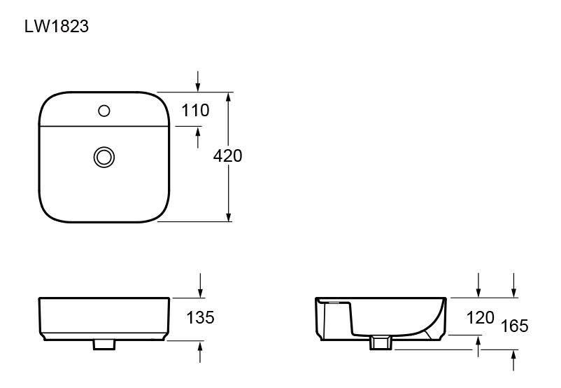 Bản vẽ kỹ thuật Chậu lavabo dương bàn Elimen - Mã LW1823